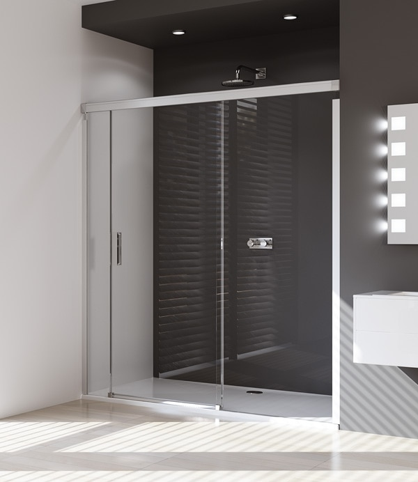 Drzwi suwane 4-kątne Huppe Design Pure ze stałym segmentem  i częścią boczną na wymiar Prawe 8P0480.087.321