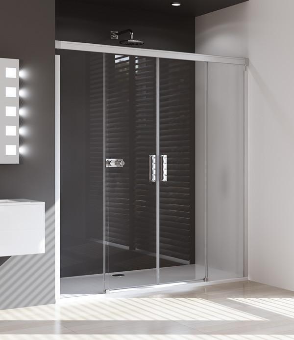 Drzwi suwane 4-kątne Huppe Design Pure 2-częściowe ze stałymi segmentami na wymiar 8P0580.087.321