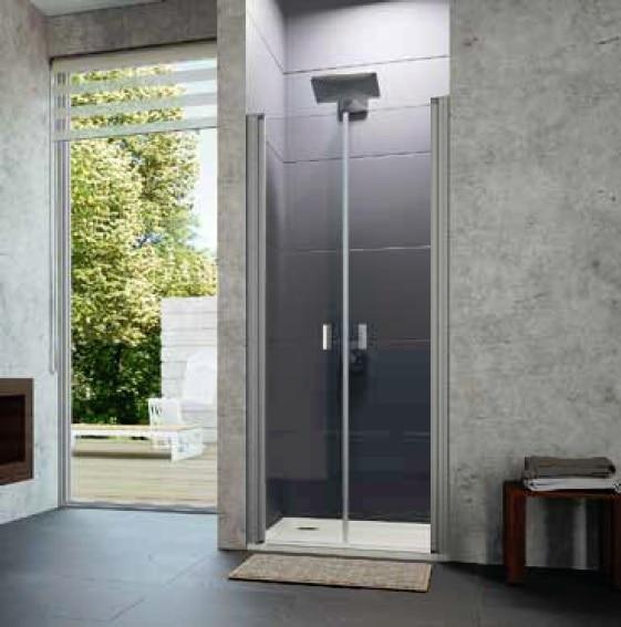 Drzwi skrzydłowe wahadłowe 4-kątne Huppe Design pure 90cm 8P1302.087.322 Anti-plaque