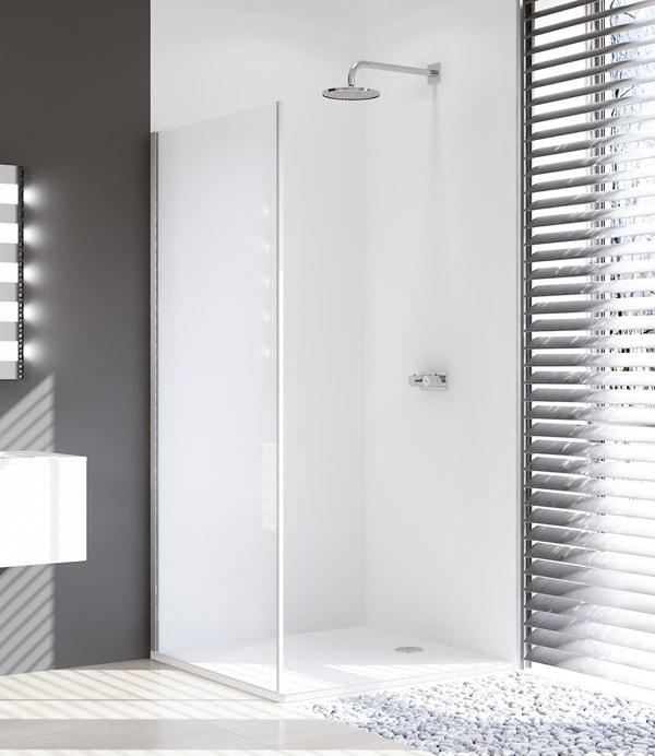 Ścianka boczna 4-kątna Huppe Design Pure do drzwi suwanych 1-częściowych ze stałym segmentem 100cm Lewa 8P2704.087.321