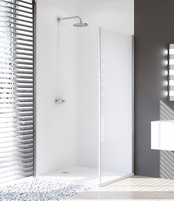 Ścianka boczna 4-kątna Huppe Design Pure do drzwi suwanych 1-częściowych ze stałym segmentem 100cm Prawa 8P2804.087.322 Anti-plaque