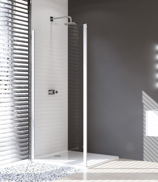 Ścianka boczna 4-kątna Huppe Design Pure do drzwi suwanych 2-częściowych ze stałym segmentem lub drzwi suwanych ze stałym segmentem i częścią boczną 100cm Lewa 8P5008.087.322 Anti-plaque