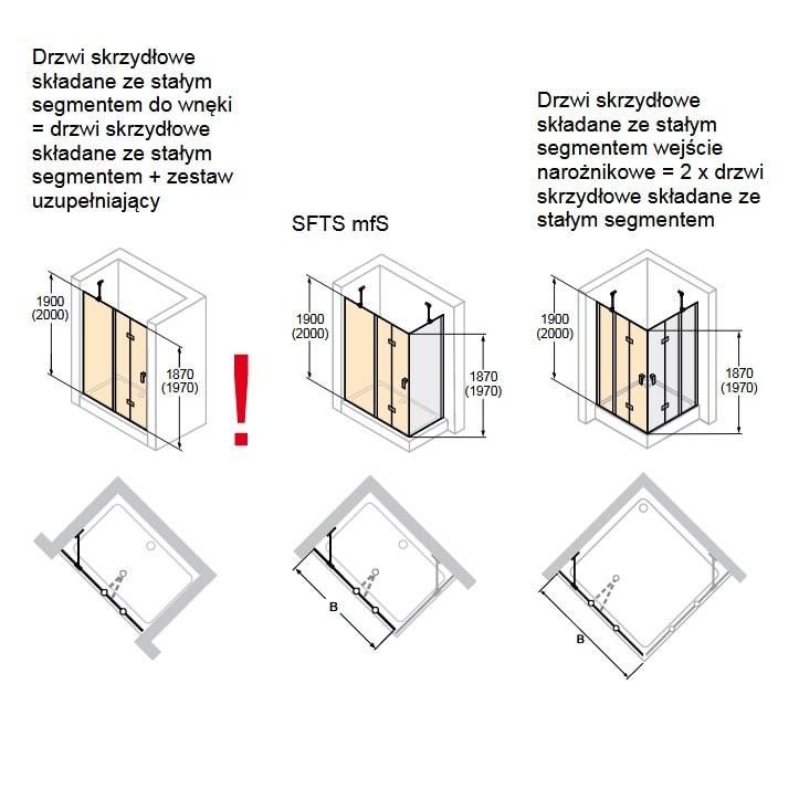Zdjęcie Drzwi skrzydłowe składane ze stałym segmentem Huppe Design Pure 120cm Lewe 8P7004.087.322 Anti-plaque