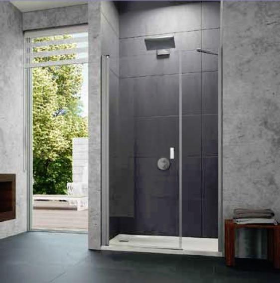 Drzwi skrzydłowe z częścią boczną do wnęki Huppe Design pure 120cm 8P7209.087.322 Anti-plaque