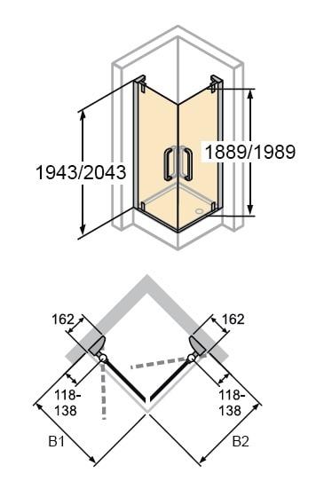 Zdjęcie Kabina skrzydłowa 4-kątna Huppe Refresh na wymiar 9P0180.087.322 Anti-plaque
