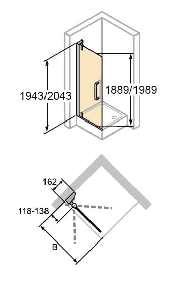 Zdjęcie Drzwi skrzydłowe 4-kątne Huppe Refresh do ścianki bocznej 80cm 9P0301.087.322 Anti-plaque