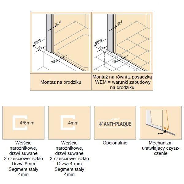 Zdjęcie Kabina Huppe Classics 2 4-kątna drzwi suwane 2-częściowe na wymiar C20180.087.322 Anti-plaque