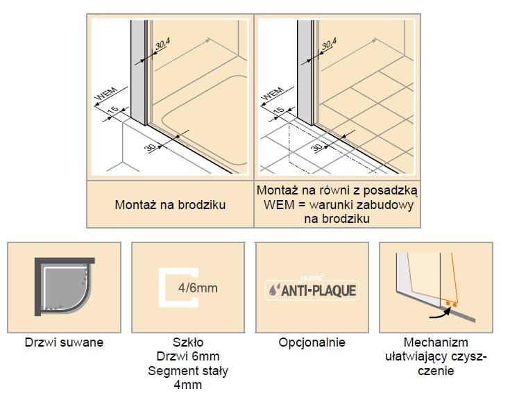 Zdjęcie Kabina suwana 1/4 koła Huppe Classics 2 100x100cm C20613.087.322 Anti-plaque