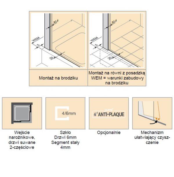 Zdjęcie Kabina suwana 2-częściowa Huppe Classics 2 EasyEntry na wymiar C25080.087.322 Anti-plaque