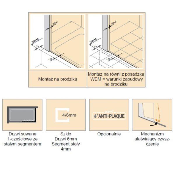 Zdjęcie Drzwi suwane 1-częściowe ze stałym segmentem Huppe Classics 2 EasyEntry Prawe 140cm C25611.087.322 Anti-plaque