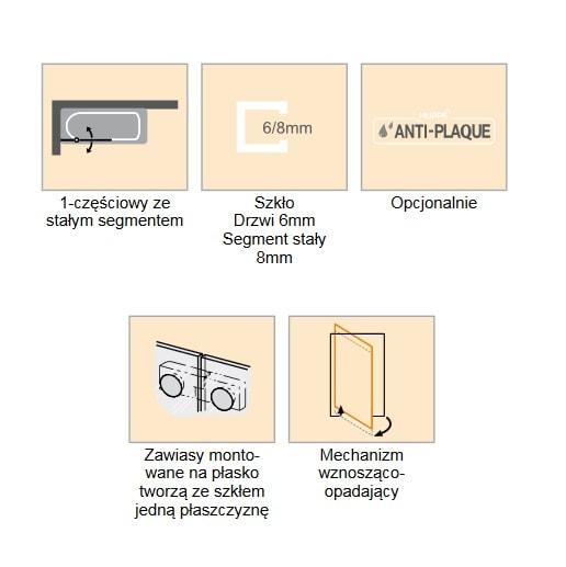 Zdjęcie Parawan nawannowy 1-częściowy ze stałym segmentem Huppe Solva pure bezramowy na wymiar Prawy SR2280.092.322 Anti-plaque