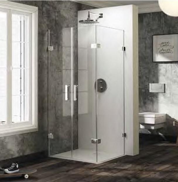 Drzwi wahadłowe ze ścianką boczną Huppe Solva pure lewe na wymiar 600-1200x200-1200 SR4180.092.322 Anti-plaque