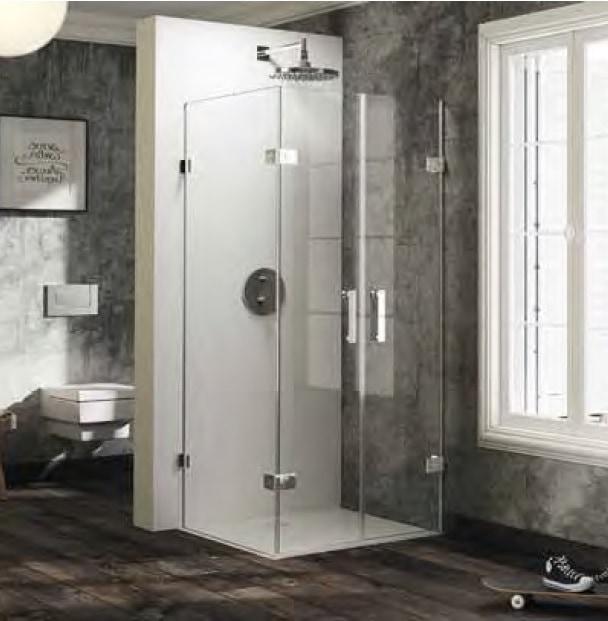 Drzwi wahadłowe ze ścianką boczną Huppe Solva pure prawe na wymiar 600-1200x200-1200 SR4281.092.322 Anti-plaque