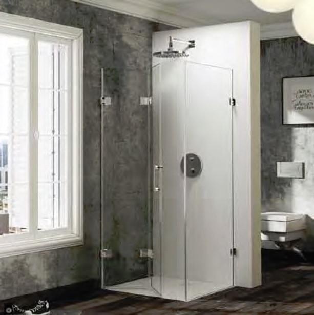 Drzwi skrzydłowe składane ze ścianką boczną Huppe Solva pure lewe na wymiar 500-1250x200-1200 SR4580.092.322 Anti-plaque