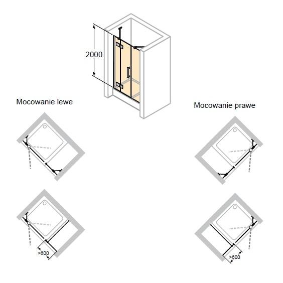 Zdjęcie Drzwi skrzydłowe ze stałym segmentem i częścią boczną do wnęki Huppe Solva pure prawe 160cm ST1506.092.322 Anti-plaque
