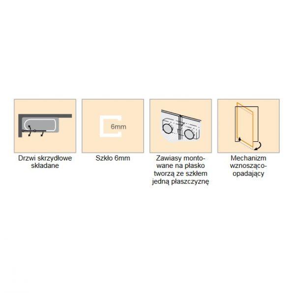 Zdjęcie Parawan nawannowy składany Huppe Solva pure 120cm Prawy ST4902.092.322 Anti-plaque