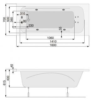 Zdjęcie Wanna Pool-Spa Klio prostokątna 160×70 z hydromasażem SD1 PHP66..SD1C0000