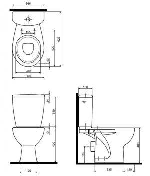 Zdjęcie WC kompakt Koło Rekord, odpływ poziomy K99000000
