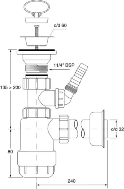 Zdjęcie Syfon umywalkowy butelkowy McAlpine HC1LWM