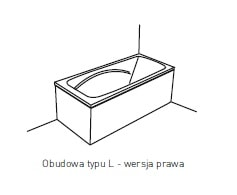 Obudowa jednoczęściowa typu L Pool-Spa 140x70 prawa do wanny Klio PWOKD..OWL00000