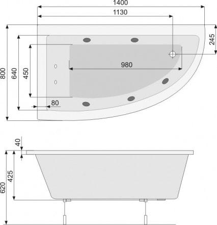 Zdjęcie Wanna narożna asymetryczna Pool-Spa Laura Prawa 80x140cm PWANK..ZN000000