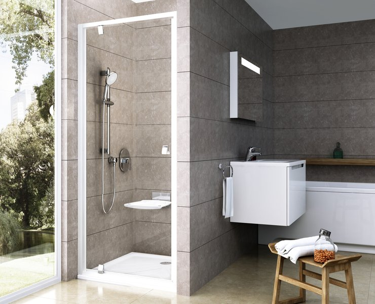 Drzwi prysznicowe pivotowe Ravak Pivot PDOP1 80 cm Biały/Chrom 03G40100Z1