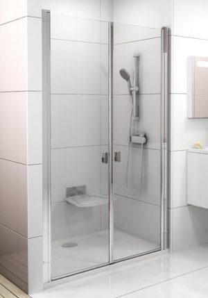 Drzwi prysznicowe Ravak Chrome CSDL2-90 białe Transparent 0QV7C10LZ1