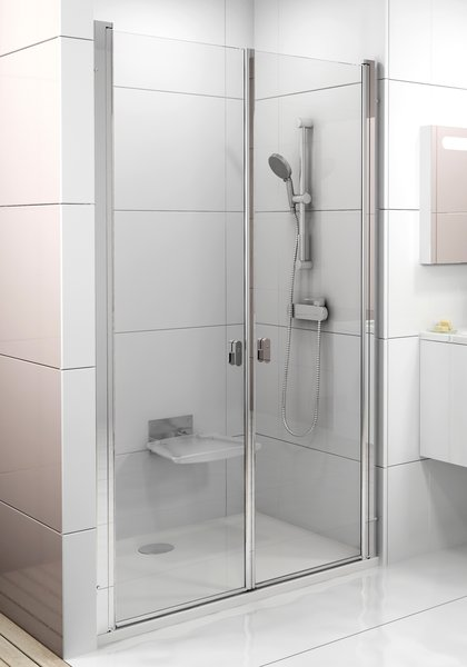 Drzwi prysznicowe Ravak Chrome CSDL2-90 satyna Transparent 0QV7CU0LZ1