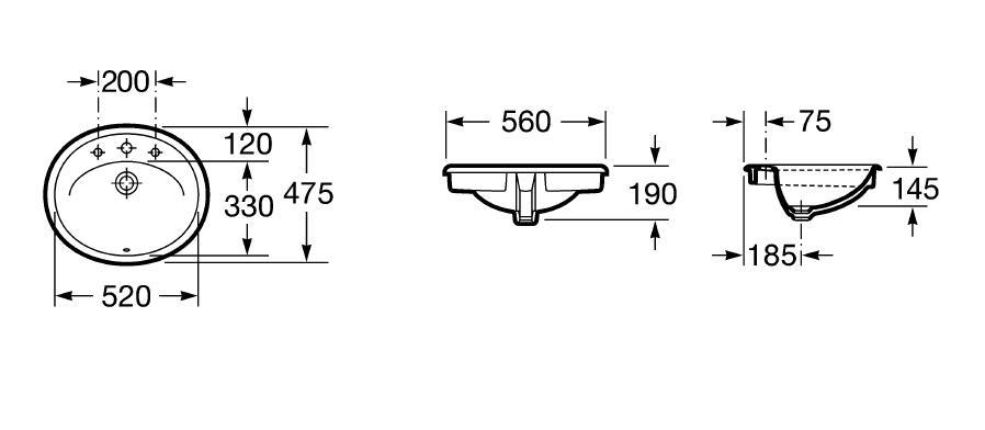 Zdjęcie Umywalka blatowa Roca Java 56×47,5cm A327863..0