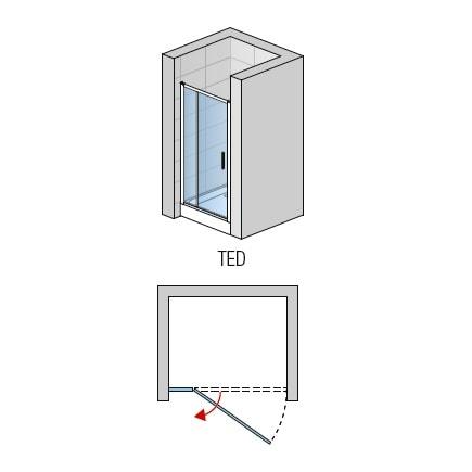 Zdjęcie Drzwi jednoczęściowe ze ścianką stałą SanSwiss Ronal Top-Line 100cm połysk TED10005007
