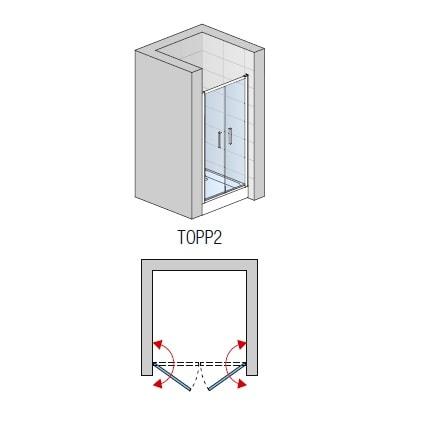 Zdjęcie Drzwi dwuczęściowe SanSwiss Ronal Top-Line 80cm połysk TOPP208005007