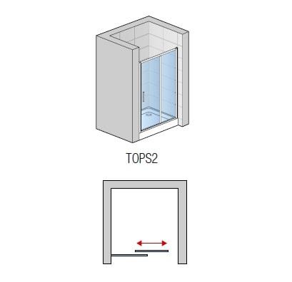 Zdjęcie Drzwi dwuczęściowe suwane SanSwiss Ronal Top-Line 140cm połysk TOPS214005007