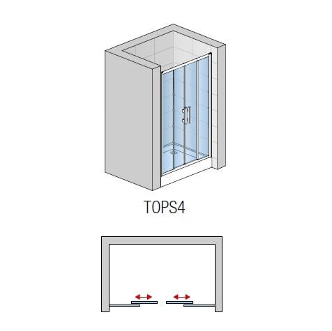 Zdjęcie Drzwi czteroczęściowe suwane SanSwiss Ronal Top-Line 120cm połysk TOPS412005007