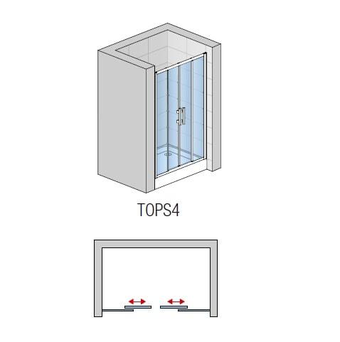 Zdjęcie Drzwi czteroczęściowe suwane SanSwiss Ronal Top-Line 140cm połysk TOPS414005007