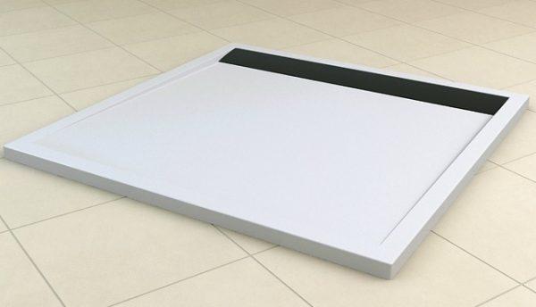 Zdjęcie Brodzik konglomeratowy kwadratowy SanSwiss Ronal Ila WIQ 80×80 biały/czarny WIQ0800604