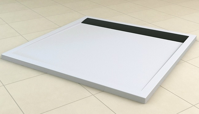 Brodzik konglomeratowy kwadratowy SanSwiss Ronal Ila WIQ 80x80 biały/czarny WIQ0800604