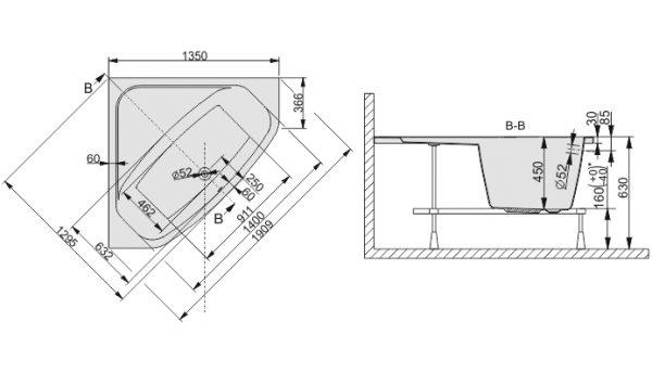 Zdjęcie Wanna narożna symetryczna Sanplast Free Line WS/FREE 135cm + STW 610-040-0321-01-000