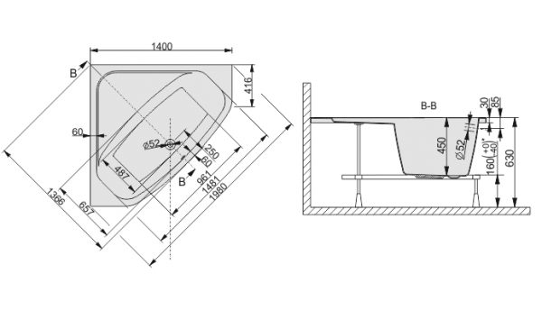Zdjęcie Wanna narożna symetryczna Sanplast Free Line WS/FREE 140cm + STW 610-040-0331-01-000
