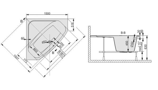 Zdjęcie Wanna narożna symetryczna Sanplast Free Line WS/FREE 150cm + STW 610-040-0351-01-000