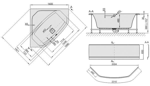 Zdjęcie Wanna narożna symetryczna ze stelażem Sanplast Space Line WS/SPACE 140cm + obudowa 610-100-0750-01-000