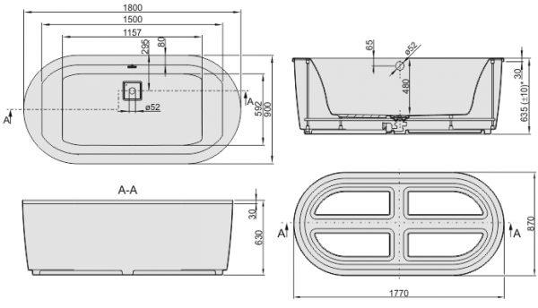 Zdjęcie Wanna owalna ze stelażem Sanplast Space Line WOW/SPACE 90x180cm + obudowa 610-100-0950-01-000