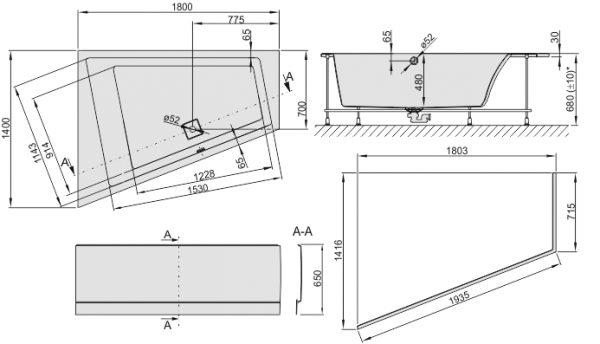 Zdjęcie Wanna trapezowa ze stelażem Sanplast Space Line WTL(P)/SPACE 140x180cm Prawa + obudowa 610-100-1370-01-000