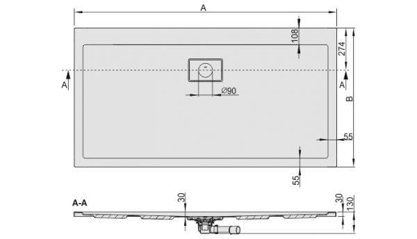 Zdjęcie Brodzik prostokątny Sanplast Space Line B/SPACE 90x160cm 615-110-0140-01-000