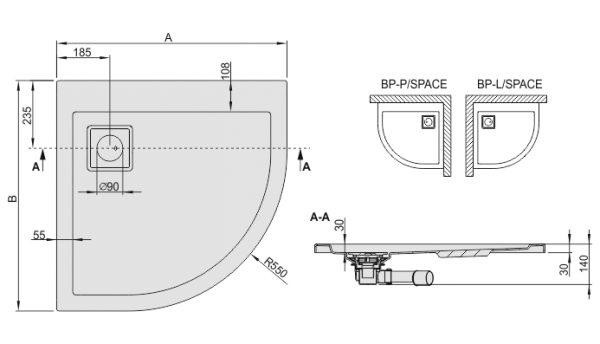 Zdjęcie Brodzik półokrągły asymetryczny Space Line BP-L(P)/SPACE 80x90cm Prawy