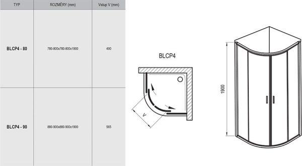 Zdjęcie Kabina prysznicowa półokrągła czteroelementowa Ravak Blix BLCP4-80 satyna Grape 3B240U00ZG
