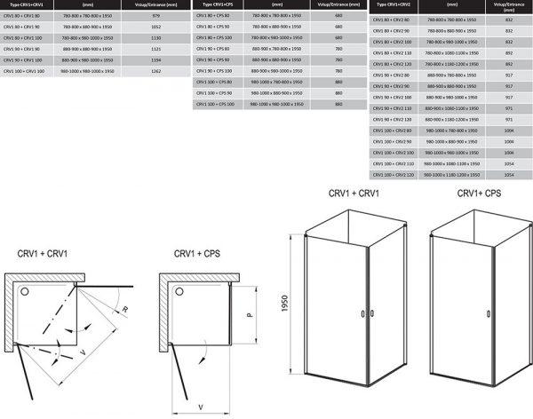 Zdjęcie Kabina prysznicowa narożna Ravak Chrome CRV1-100 satyna Transparent 2x1QVA0U01Z1