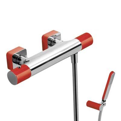 Zestaw natryskowy termostatyczny Tres Loft colors czerwony 20016409RO
