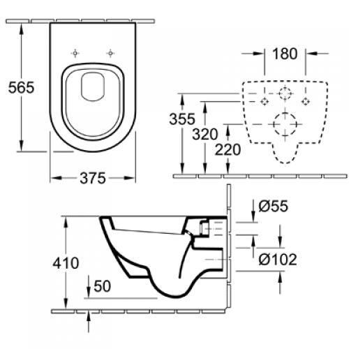 Zdjęcie Miska WC wisząca + deska wolnoopadająca Villeroy Boch Subway 2.0 Slimseat + uszczelka wygłuszająca GRATIS 56001001 + 9M78S101