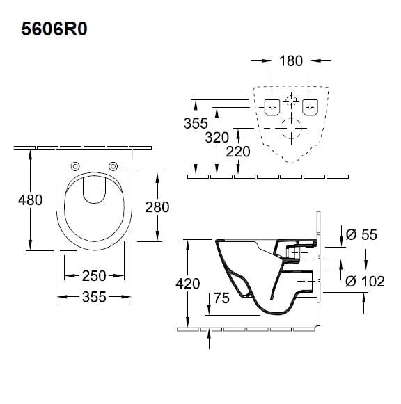 Zdjęcie Miska WC wisząca + deska wolnoopadająca Villeroy Boch Subway 2.0 Compact bez kołnierza wewnętrznego 5606R001+9M69S101 + uszczelka wygłuszająca GRATIS