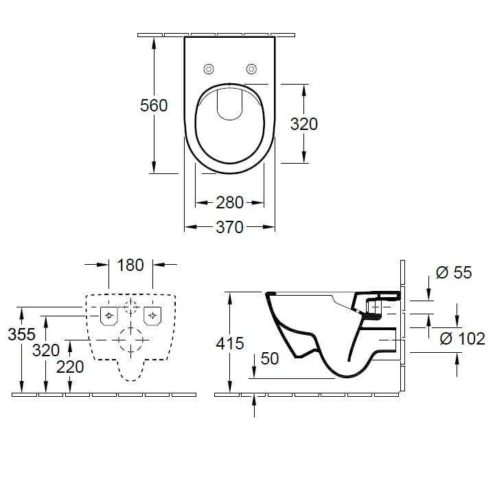 Zdjęcie Miska wisząca WC + deska wolnoopadająca Slim Villeroy Boch Subway 2.0 DirectFlush 5614R001+9M78S101 + uszczelka wygłuszająca GRATIS